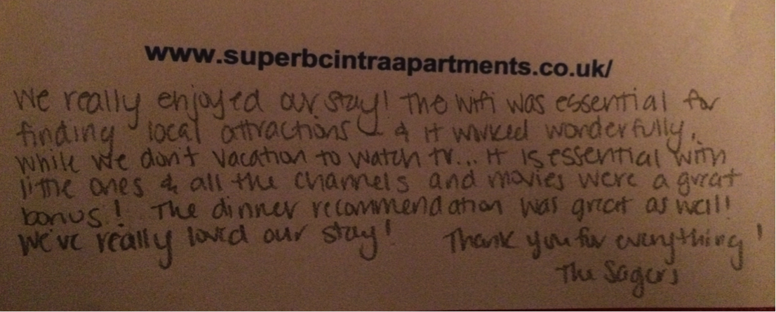 Testimonial - Superb Cintra Apartments Llandudno
